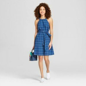 A New Day Blue & White Plaid Windowpane Mini Dress